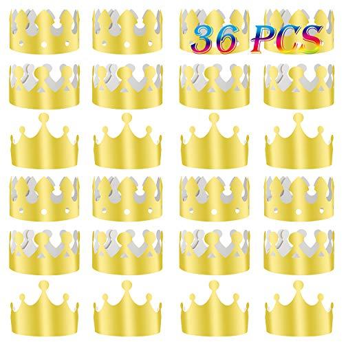 TUPARKA 36 Stücke Goldene König Kronen Goldfolie Papier Party Crown Hut Kappe für Geburtstagsfeier Baby Shower Foto Requisiten (Gold)