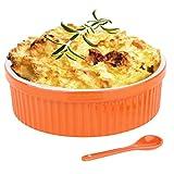 Souffle Dish Ramekins for Baking – 32 Oz, 1 Quart Large Ceramic Oven Safe Round Fluted Bowl with Mini Condiment Spoon for Soufflé Pot Pie Casserole Pasta Roasted Vegetables Baked Desserts (Orange Set)