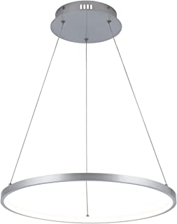 Modern LED Pendant Light, Foyer Chandelier Contemporary Adjustable 1 Ring Hanging Circular Lighting for Dining Living Room Bedroom Kitchen 3000K Warm White, UL Listed, HUOYAN-LIGHTING