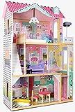 Leomark Royal Residence de Rêves Maison de Poupée Villa Résidentielle - En Bois - Avec Meubles Dimensions: 86 x 33 x 121 cm Haute Qualité Belles Couleurs de Ville Complet Avec Meubles