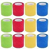 Benda Coesiva, 12 Rotoli Fasciatura Adesiva Elastica, Colorato Elastica Tessuto Medico per...