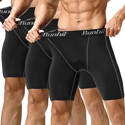 Runhit Men's Compression Shorts(3 Pack), Compression Spandex Yoga Shorts Underwear (black Grey, M)