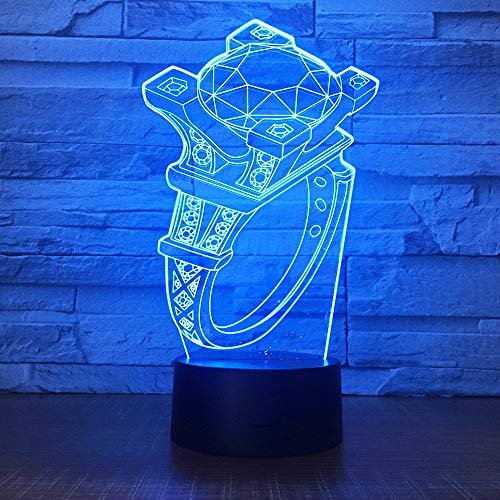 3D led Night Light Diamond Ring 7 Color Remote Control Touch Bedroom lamp Home Decoration, Children's Christmas Gift