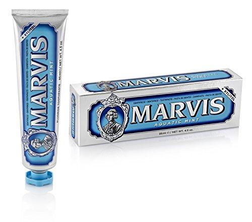 MARVIS Aquatic Mint, Zahncreme mit dem kühlen Hauch von Minze, entfernt Plaque und hartnäckige Beläge, mit Fluorid, 3 x 85 ml, 3er Pack