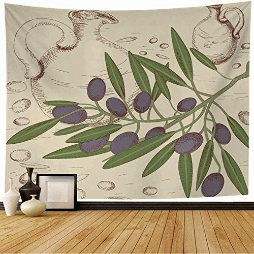 Tapisserie murale Tenture Murale Branche d'Olivier Crayon Coloré Ferme Sur Fruit Monochrome Nature Nourriture Toscane Terre Conception Rétro Boisson