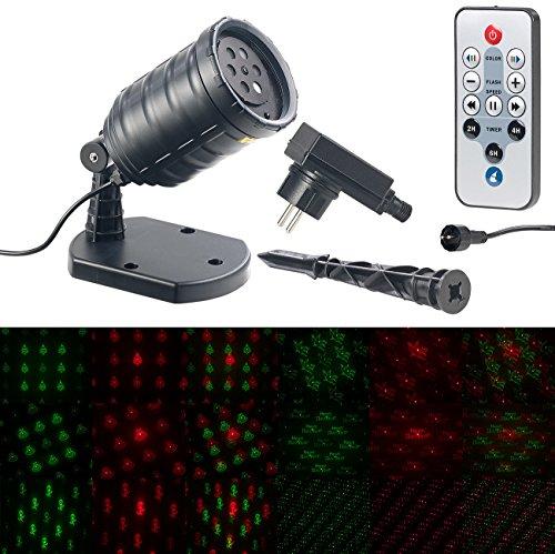 Lunartec Party Laser: Motiv-Laser-Projektor mit 6 Muster, Timer, Fernbedienung, IP65 (Laser Projektor Outdoor)