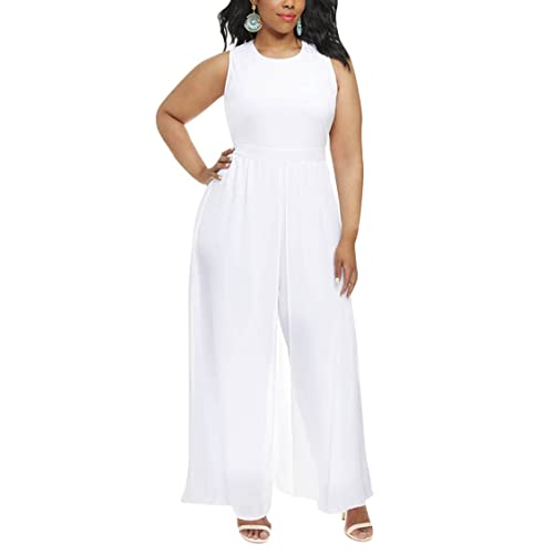 d0b4cdfc8b6f Pink Queen Women's Plus Size Sleeveless Long Pants Jumpsuit with Chiffon  Overlay