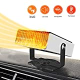 Portable Car Heater,12V Windshield Defogger Defroster,Car Heater & Cooling Fan 2 in 1,Fast Heating,Low Noise,180-degree Rotation,Plug Into Cigarette Lighter (White)
