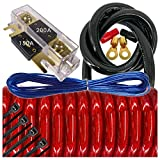 Audiotek 6000 Watts Maximum Power 0 Gauge Car Vehicle Audio Amplifier Installation Kit HOT Red 17 ft Power Cable 150+200A Fuse / All Accessories and Terminal Included RED