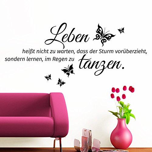 Grandora Wandtattoo Spruch Leben heißt + Schmetterlinge I schwarz (BxH) 128 x 58 cm I Wohnzimmer Flur Diele Sticker Aufkleber Wandaufkleber Wandsticker W996