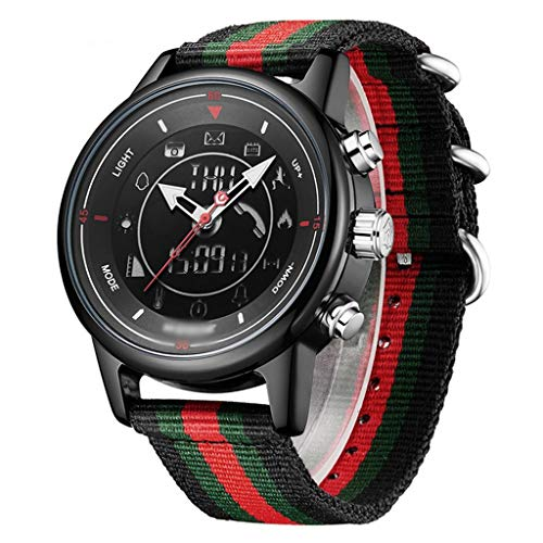 ZXQZ Watch Wrist Watches, Couple Bluetooth Sports Bracelet, 540 Days Battery Life, Smart Watch for Men Women (Color : Black Green red)