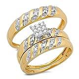 Juego de tres anillos para boda de oro amarillo de 10 ct con diamante blanco redondo de 0,09quilates, para hombre y mujer