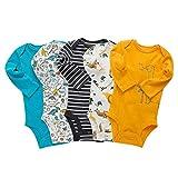Paquete de 5 Bebé Body De Manga Larga Niños Mameluco Camisetas Paquete de Pijama Niñas Mono de Algodón 18-24 Meses