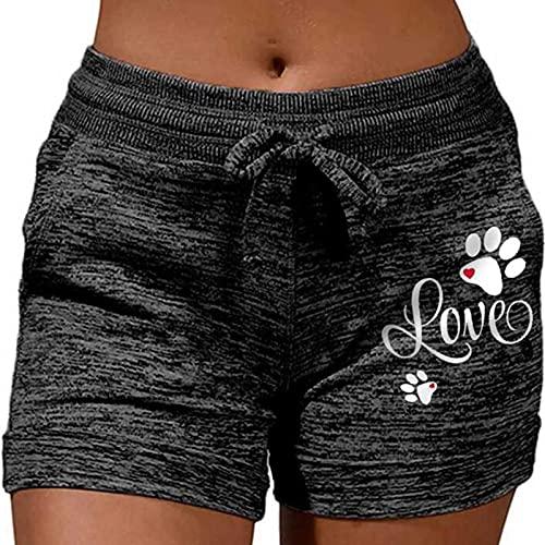 XOXSION Pantalones de deporte para mujer, pantalones cortos de verano, con cinturón suave, pantalones harén con bolsillos y cordón, ligeros, de tela, para tiempo libre, fitness, color negro, S