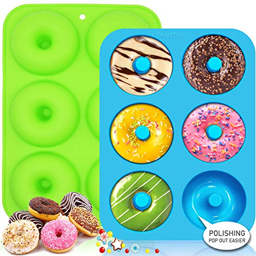 Walfos Silicone Donut Mold  NonStick Silicone Doughnut Pan Set Just Pop Out Heat Resistant Make Perfect Donut Cake Biscuit Bagels BPA FREE and Dishwasher Safe Set of 2