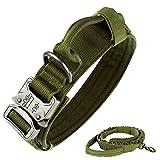 Collar táctico para perro de nailon ajustable K9 collar militar de perro con hebilla de metal resistente con asa y correa elástica táctica de nailon ajustable para perro militar (M, verde militar)