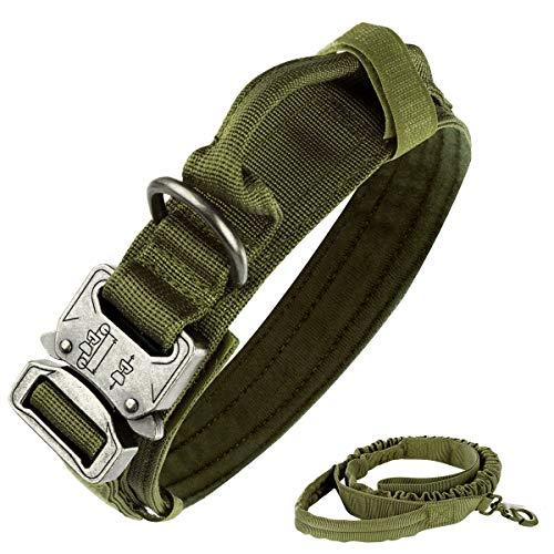 Bociks Taktisches Hundehalsband, Nylon, verstellbar, K9-Halsband, robuste Metallschnalle mit Griff, Taktische Bungee-Hundeleine, Nylon, Militär-Hundeleine, Hundeleine und Halsband-Set(ArmyGreen-L)
