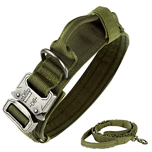 Tactical Dog Collar Nylon Adjustable K9 Collar Military Dog Collar Heavy Duty Metal Buckle with Handle,Tactical Bungee Dog Leash Nylon Military Dog Leash,Dog Lead and Collar Set (Army Green, M)