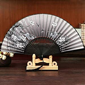 FSJIANGYUE Summer Folding Fan Bamboo Silk Fan Dance Party Flower Printing Home Decoration Crafts (Color : Color17)