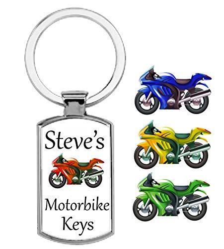 Gepersonaliseerde rechthoekige motorfiets thema metalen sleutelhanger
