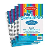 """Melissa & Doug Mini-Sketch Pads, 4-Pack (Arts & Crafts, Fade-Resistant, Acid-Free White Paper, 50 Pages, 9"""" H x 6"""" W x 0.25"""" L, Great Gift for Girls and Boys - Best for 3, 4, 5 Year Olds and Up)"""