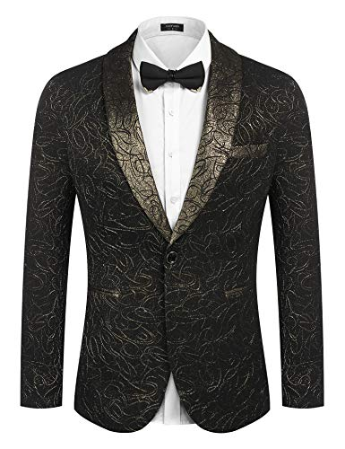 COOFANDY Men's Luxury Design Suit Jacket Fashion Blazer Tuxedo Gold