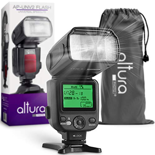 altura photo ttl flashes Camera Flash W/LCD Display for DSLR & Mirrorless Cameras, External Flash Featuring a Standard Hot Flash Shoe, Universal Camera Flash for Canon, Sony, Nikon, Panasonic and Other Cameras with Pouch