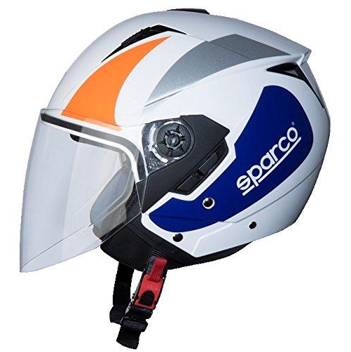BHR 9837 Motorradhelm, Weiß/Orange, Größe XL