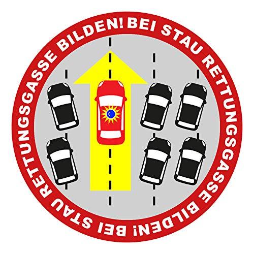 Finest Folia Autoaufkleber Bei Stau Rettungsgasse Bilden Sticker Fahrzeuge Auto Kfz Aufkleber Feuerwehr THW Polizei Verhalten bei Unfall Rettungsdienst R099 (Rot)