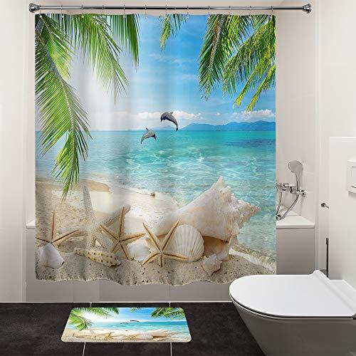 "HIYOO Bathroom Ocean Beach Shower Curtain Sets,Tropical Seashore Dolphin Seashell Shower Curtains, Sea Island Palms Tree Starfish Bathtub Shower Curtain with Hooks,Green Waterproof Fabric 60""W x 72""L"