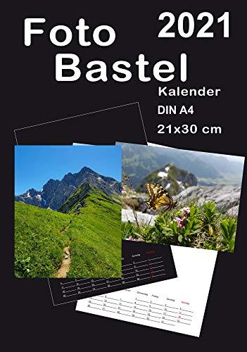 Bastelkalender 2021 DIN A4 Fotokalender Kreativkalender DIY Bildkalender zum Selber gestalten für 10 x 15 oder 13 x 18 cm
