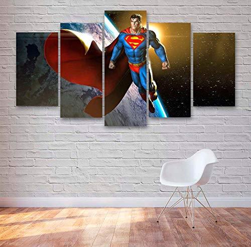 Quadro Moderno 5 Pannelli Comics Super Hero Cinema Superman Action Guerra Movie Canvas Painting,5 Pezzi Quadri Moderni Dipinti Foto per Soggiorno Camera da Letto Divano TV Sfondo Gym Home Decor
