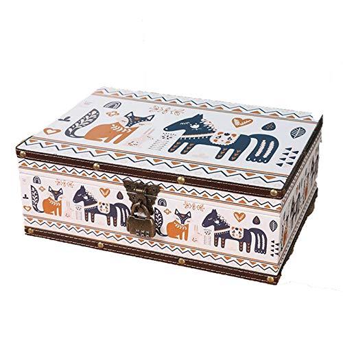 GAONAN Caja de almacenamiento de joyas de la vendimia, caja de almacenamiento de cuero, con cerradura de metal, caja de almacenamiento de necesidades diarias, adecuado para anillo de collar de pendien