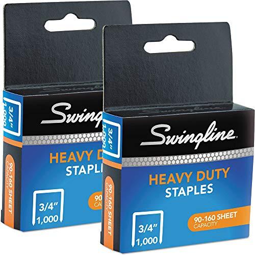 Swingline : S.F. 13 Heavy-Duty 3/4quot; Leg Length Staples, 160 Sheet Capacity, 1000 Per Box -:- Sold as 2 Packs of - 1 - / - Total of 2 Each