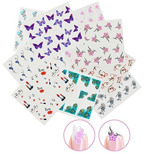 Nicedeco 15x Nagel Sticker Wrap Wasser Transfer Aufkleber Tattoo Tips Idee als Nail Art/Phone Case/Einladungskarten Dekoration TYP 4
