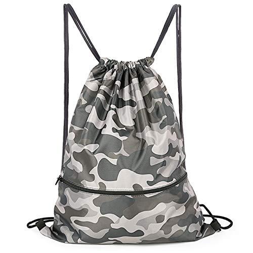 Camo Waterproof Gym Drawstring Bag,Sports Backpack for Men Women Girls Boys