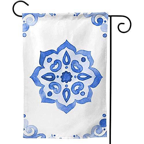 CHANGSHABF Artistieke Vlaggen, Tuinvlag 30X45Cm Delfts Blauw Stijl Aquarel Tegel Amsterdam Vintage Aangepaste Tweezijdig Voor Thuis Tuin Decoratie