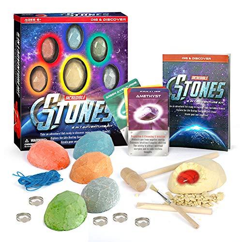 Kits de excavación de piedras preciosas 6 kits de excavación de gemas con 6 piedras preciosas reales del infinito Kit de excavación de mega gemas para niños Mineralogía Geología Ciencia STEM Regalo