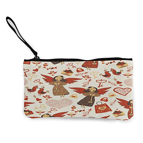 Moneda de lona, bolso de San Valentín con bonitos ángeles, con cremallera, bolsa de cosméticos de viaje multifunción, bolsa de maquillaje para teléfono móvil, paquete de lápices con asa