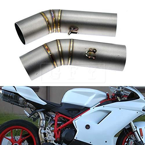 KYN for Ducati 848 2008-2010, 848 EVO 2011-2014, 1098R 2008-2009, 1098 1098S 1198 1198S 2007-2008 Escape Slip-on Motorrad Auspuff Middle Link Pipe Abgaskrümmer Verbindungsrohrsystem