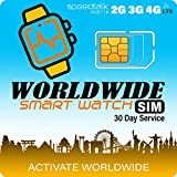 Works in 200 Countries - Smart Watch Worldwide SIM Card - Compatible with 4G Smartwatches and Wearables - Coverage in 200 Countries
