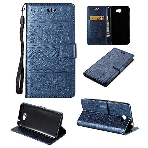 pinlu Schutzhülle Für Huawei Y5 II Handyhülle Hohe Qualität PU Ledertasche Brieftasche Mit Stand Function Elefanten Muster Navy Dunkelblau