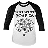 Officially Licensed Fight Club - Paper Street Soap Company Baseball Long Sleeve T-Shirt (White/Black), Large