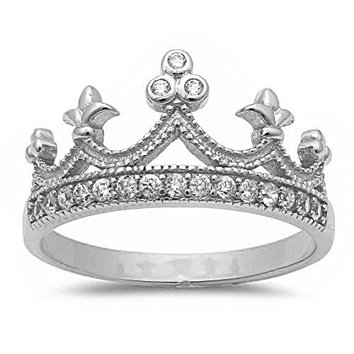 Oxford Diamond Co .925 Sterling Silver Simulated Cz Crown Ring Sizes 4-11 (11)