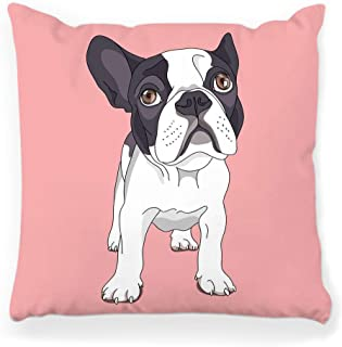 Toobaso Decorative Throw Pillow Cover Square 18x18 Cartoon French Bulldog Dog Cute Drawing Face Funny Isolated Adorable Animal Art Black Breed Doggy Domestic Home Decor Zippered Pillowcase
