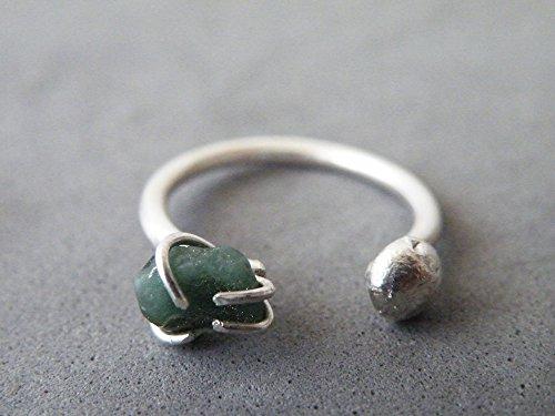 Raw Emerald Adjustable Ring Steling Silver Nugget Ring Dual Gemstone Ring