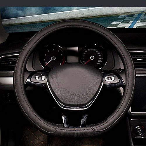 Housse de volant de voiture en cuir synthétique avec fond plat 38 cm (noir)