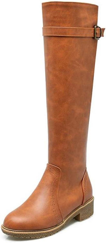 Women Knee High Boots Low Heel Buckle Round Toe Side Zipper Winter Plat Ladies Fashion Motorcycle Footware