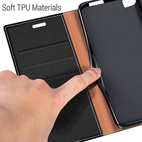 COODIO Handyhülle für Huawei P8 Max Handy Hülle, P8 Max Hülle Leder Handytasche für Huawei P8 Max Klapphülle Tasche, Schwarz - 4
