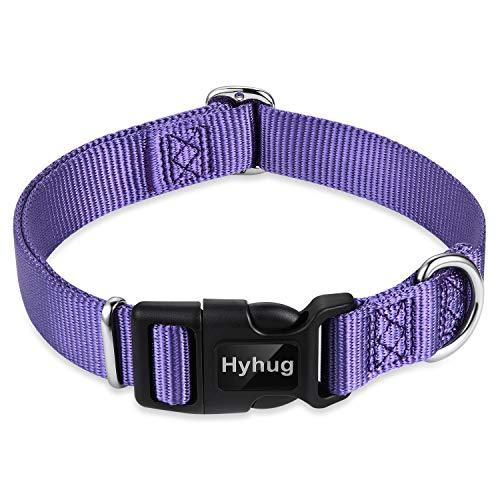 Hyhug Cuello de Trabajo Pesado clásico de Color sólido para Perros Grandes, medianos y pequeños, Ajuste de diseño único. (Pequeño S, Ultra Violeta)